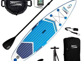 Aqua Spirit 10 Foot Inflatable SUP Stand Up Paddle Board Kit with Pump   Paddle