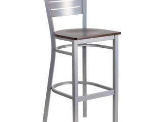 Flash Furniture Hercules Series Slat Back Metal Wood Seat Restaurant Barstool  Silver Walnut
