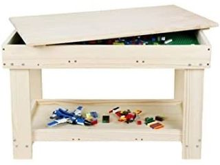 YouHi Kids Activity Table with Board for Bricks Activity Play Table  Wood Color