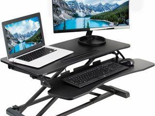 VIVO Black Height Adjustable Standing Desk Monitor Riser 32  Sit Stand Workstation Tabletop  DESK V000K
