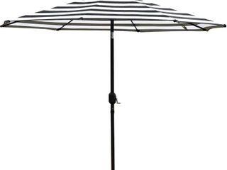 Sunnyglade 9  Patio Umbrella Outdoor Table Umbrella with 8 Sturdy Ribs  Balck and White