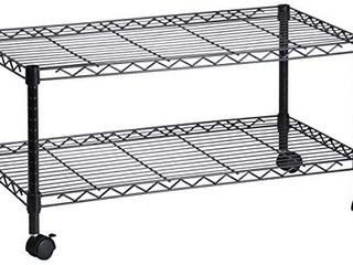 Honey Can Do CRT 03937 2 Shelf Rolling Media Cart with locking Wheels  Steel Construction