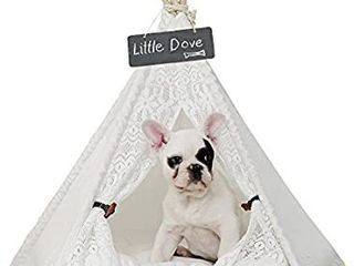 little dove Pet Teepee Dog Puppy    Cat Bed   Portable Pet Tents   Houses for Dog Puppy    Cat lace Style   MISSING CUSHION