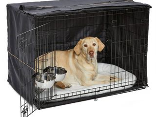 iCrate Dog Crate Starter Kit   42 Inch Dog Crate Kit Ideal for large Dog Breeds  weighing 71   90 Pounds    Includes Dog Crate  Pet Bed  2 Dog Bowls   Dog Crate Cover