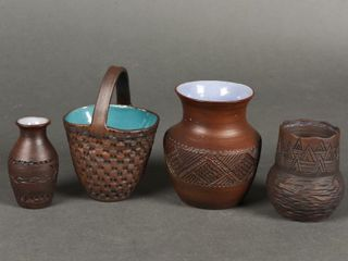 GROUPING OF 4 FIRST NATION SIGNED POTTERY