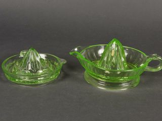 lOT OF 2 GREEN DEPRESSION GlASS JUICE REAMERS