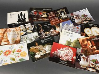 GROUPING OF VINTAGE BONE CHINA COlORED BOOKlETS