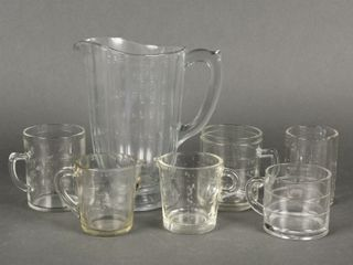 GROUPING OF 7 GlASS MEASURING CUPS   PITCHER