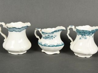 GROUPING OF 3 VINTAGE SEMI  PORC  PITCHERS