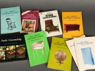 lOT 9 ANTIQUE CHAIRS  TABlES   GlASS BOOKlETS