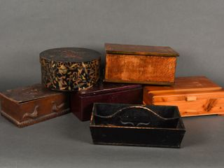 lOT OF 6 VINTAGE WOOD BOXES