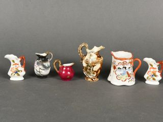 lOT OF 6 VINTAGE SMAll PITCHERS