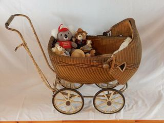 ANTIQUE CHIlD S WICKER DOll BUGGY