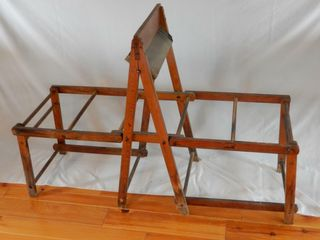 ANTIQUE WOODEN DOUBlE WASHTUB STAND
