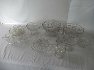 ANTIQUE SET OF 16 FROSTED CRYSTAl FRUIT NAPPIES