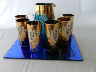 VINTAGE BlUE FlOWERED MIRROR  PITCHER   GlASSES