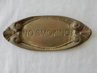 BRASS NO SMOKING ENGRAVED PlAQUE