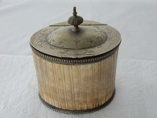 ANTIQUE IVORY SIlVER PlATED TEA BOX