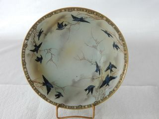 VINTAGE HAND PAINTED BlUEBIRD BOWl   STAND