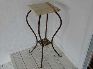 BRASS CORNER STAND WITH MARBlE TOP