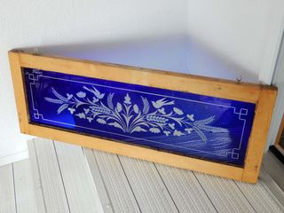 FRAMED VINTAGE BlUE CUT STAINED GlASS WINDOW