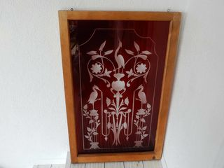 FRAMED VINTAGE RED CUT STAINED GlASS WINDOW