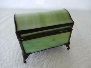 VINTAGE STAINED GlASS TRINKET BOX
