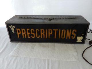 ANTIQUE DRUG STORE PRESCRIPTIONS lIGHT BOX