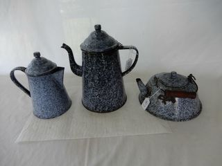 lOT 3 GRANITEWARE  2 COFFEE TEA POTS   KETTlE lID