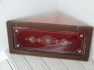 FRAMED RED STAINED GlASS WINDOW HANGER