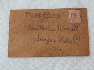 RARE 1907 CANADIAN lEATHER POST CARD