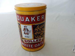 QUAKER ROllED WHITE OATS TIN   NEWER TIN