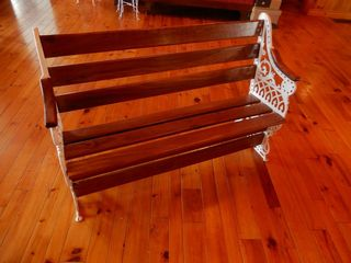 WOODEN BENCH WITH PAINTED WHITE METAl SIDES