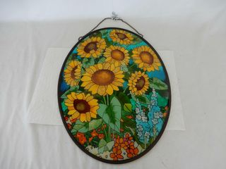 SUNFlOWERS STAINED GlASS STYlE WINDOW HANGER