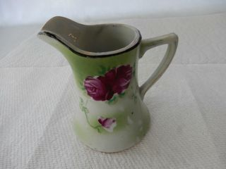 VINTAGE HAND PAINTED NIPPON FlORAl CREAM PITCHER