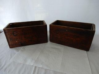 lOT 2 C MARK POINTED HORSE SHOE NAIlS WOOD BOXES