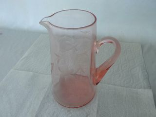 DEPRESSION GlASS FlORAl WATER PITCHER