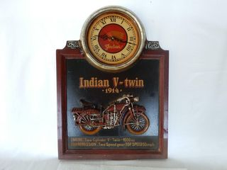 FRAMED INDIAN MOTORCYClE ClOCK   REPlICA