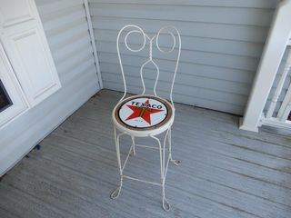 PARlOUR CHAIR WITH TEXACO SSP SIGN  REPRO SEAT