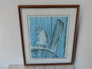 FRAMED WINTER OWl SCENE PRINT