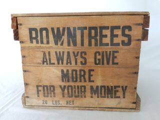 ROWNTREES 28 lBS  NET WOODEN EGG CRATE  lID
