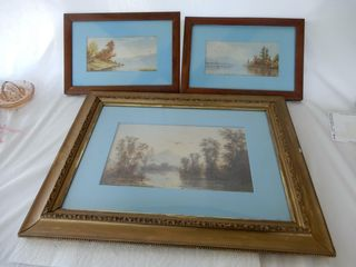 GROUPING OF 4 FRAMED VINTAGE lANSCAPE PICTURES