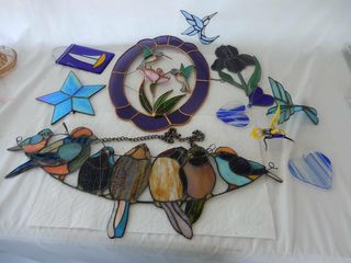 GROUPING OF STAINED GlASS WINDOW HANGERS