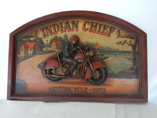 FRAMED INDIAN CHIEF MOTORCYClE REPlICA