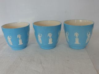 GROUPING OF 3 1977 EMBOSSED STONEWEAR POTTERY