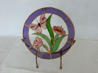 STAININGED GlASS BUTTERFlY   FlOWERS  STAND