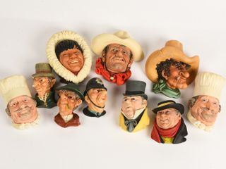 GROUPING OF 10 CHAlKWARE HEAD BUSTS