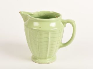 VINTAGE GREEN PITCHER WITH SCAllPED TOP