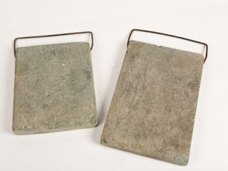 lOT OF 2 ANTIQUE CEMENT BED WARMERS   GRIPS