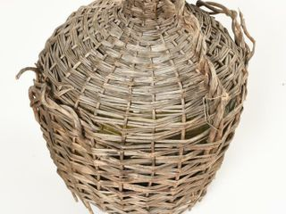 VINTAGE lARGE GREEN JUG WITH WICKER WRAPPER